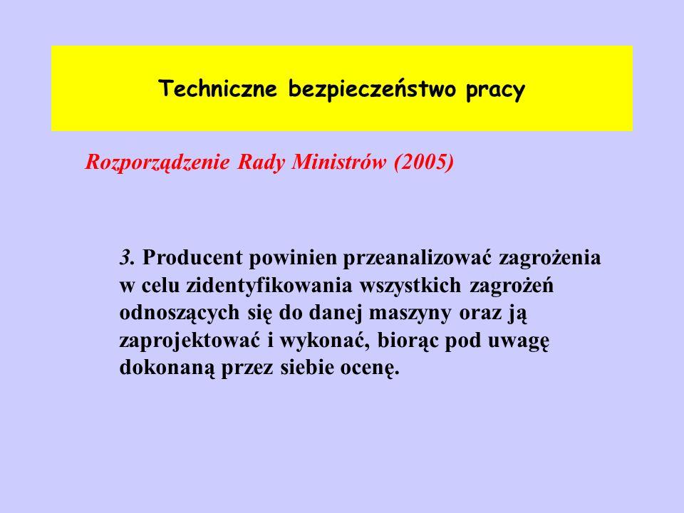Techniczne bezpieczeństwo pracy Rozporządzenie Rady Ministrów (2005)ss podarki z podarki z 3. Producent powinien przeanalizować zagrożenia w celu zide