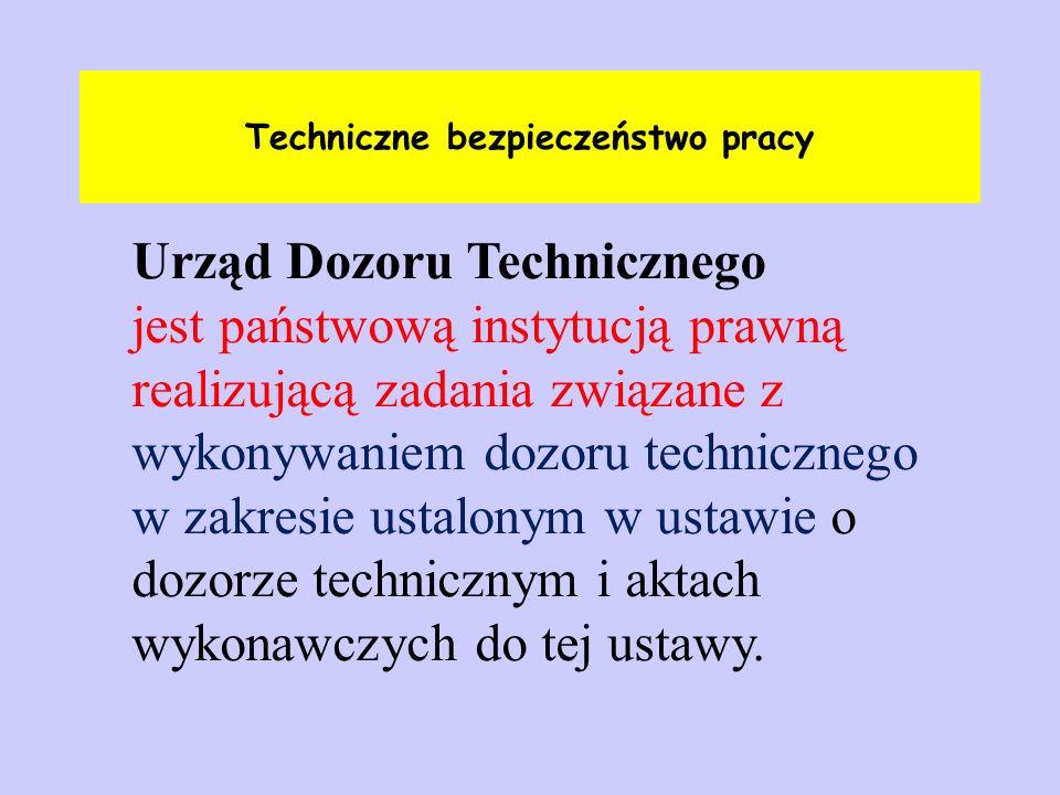 Techniczne bezpieczeństwo pracy Urząd Dozoru Technicznego jest państwową instytucją prawną realizującą zadania związane z wykonywaniem dozoru technicz