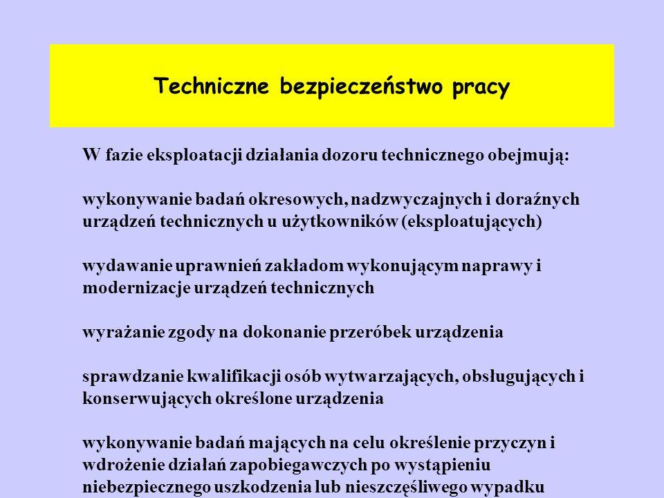 Techniczne bezpieczeństwo pracy W fazie eksploatacji działania dozoru technicznego obejmują: wykonywanie badań okresowych, nadzwyczajnych i doraźnych