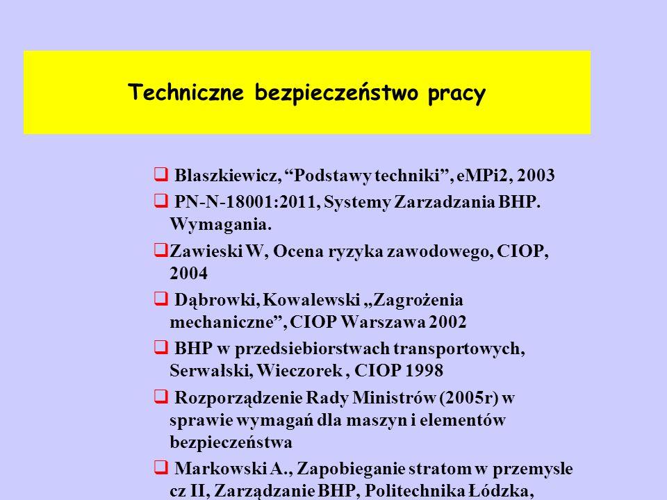 """Techniczne bezpieczeństwo pracy  Blaszkiewicz, """"Podstawy techniki"""", eMPi2, 2003  PN-N-18001:2011, Systemy Zarzadzania BHP. Wymagania.  Zawieski W,"""