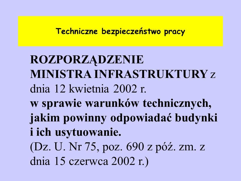 Techniczne bezpieczeństwo pracy ROZPORZĄDZENIE MINISTRA INFRASTRUKTURY z dnia 12 kwietnia 2002 r. w sprawie warunków technicznych, jakim powinny odpow