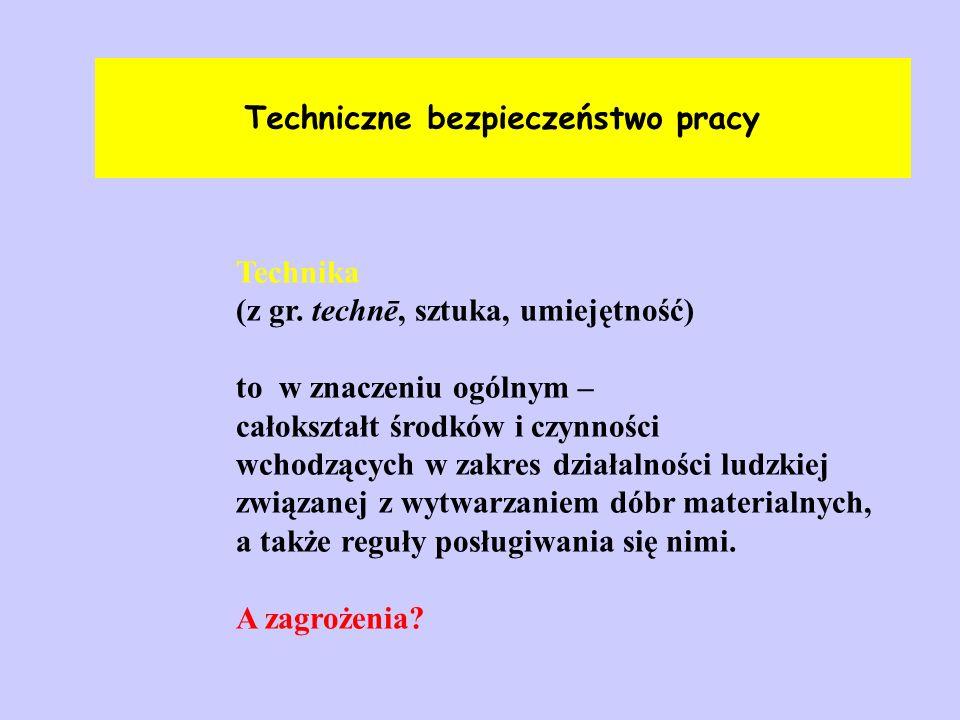 Techniczne bezpieczeństwo pracy Technika (z gr. technē, sztuka, umiejętność) to w znaczeniu ogólnym – całokształt środków i czynności wchodzących w za