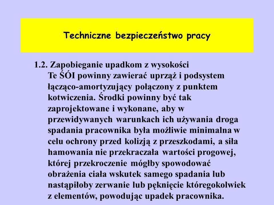 Techniczne bezpieczeństwo pracy 1.2. Zapobieganie upadkom z wysokości Te ŚÓI powinny zawierać uprząż i podsystem łącząco-amortyzujący połączony z punk