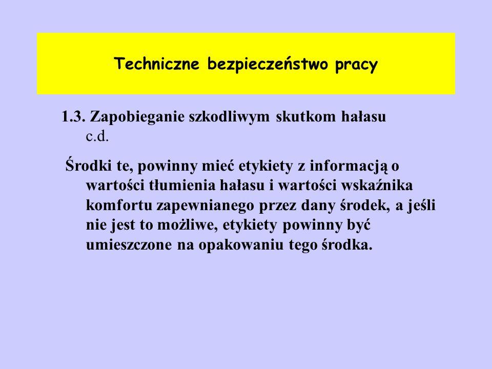 Techniczne bezpieczeństwo pracy 1.3. Zapobieganie szkodliwym skutkom hałasu c.d. Środki te, powinny mieć etykiety z informacją o wartości tłumienia ha