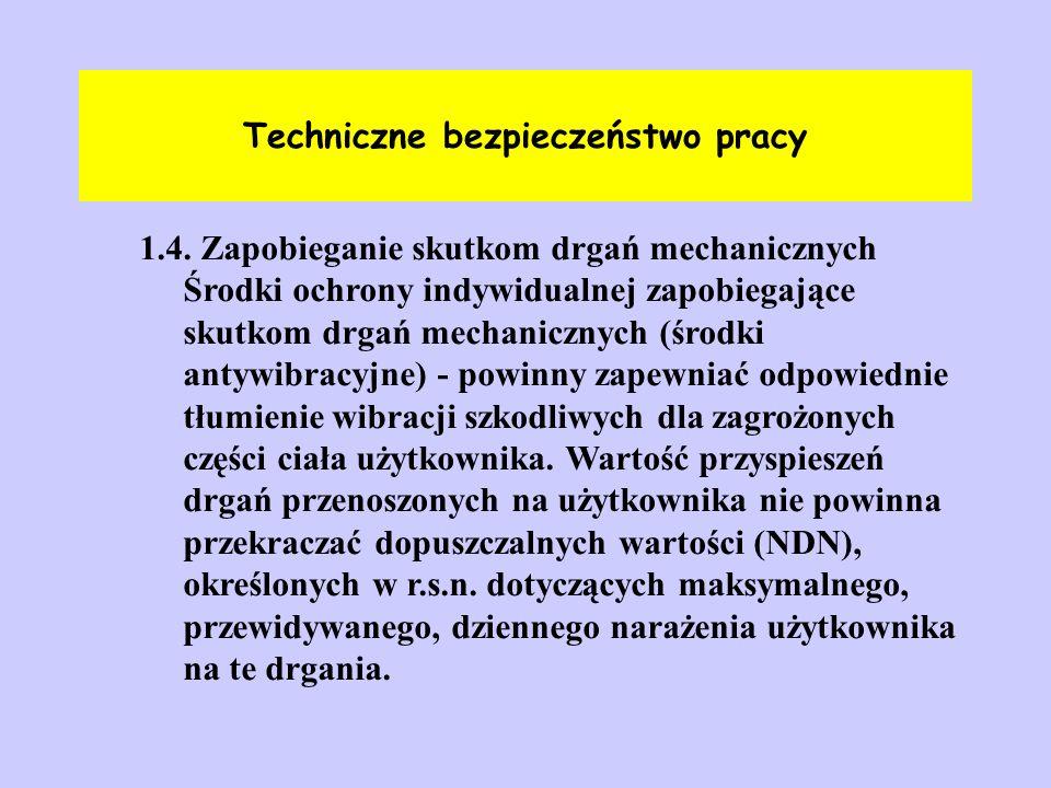 Techniczne bezpieczeństwo pracy 1.4. Zapobieganie skutkom drgań mechanicznych Środki ochrony indywidualnej zapobiegające skutkom drgań mechanicznych (