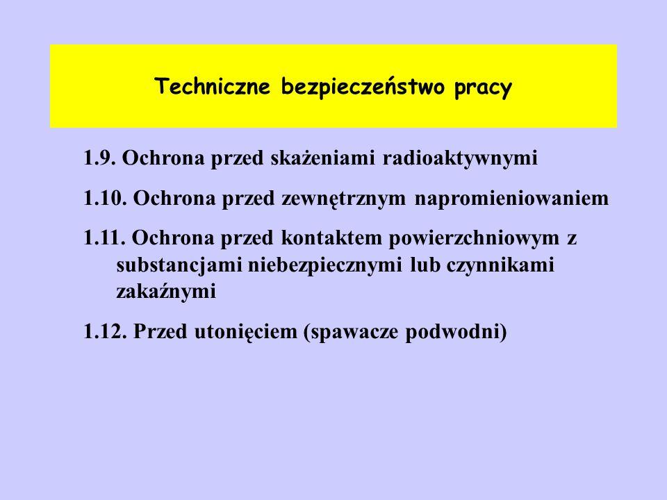 Techniczne bezpieczeństwo pracy 1.9. Ochrona przed skażeniami radioaktywnymi 1.10. Ochrona przed zewnętrznym napromieniowaniem 1.11. Ochrona przed kon