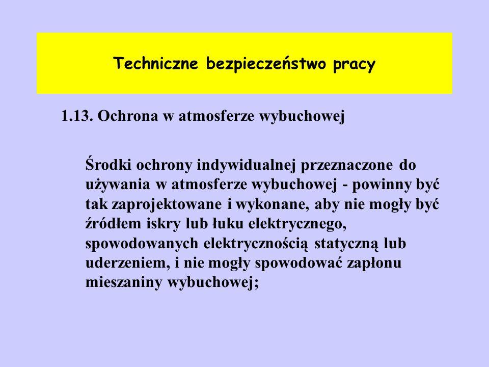 Techniczne bezpieczeństwo pracy 1.13. Ochrona w atmosferze wybuchowej Środki ochrony indywidualnej przeznaczone do używania w atmosferze wybuchowej -