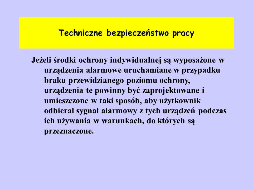 Techniczne bezpieczeństwo pracy Jeżeli środki ochrony indywidualnej są wyposażone w urządzenia alarmowe uruchamiane w przypadku braku przewidzianego p