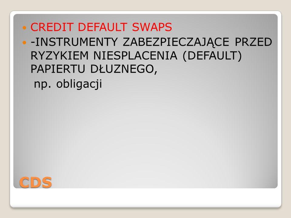 CDS CREDIT DEFAULT SWAPS -INSTRUMENTY ZABEZPIECZAJĄCE PRZED RYZYKIEM NIESPLACENIA (DEFAULT) PAPIERTU DŁUZNEGO, np. obligacji
