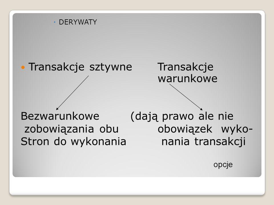  DERYWATY Transakcje sztywneTransakcje warunkowe Bezwarunkowe(dają prawo ale nie zobowiązania obuobowiązek wyko- Stron do wykonania nania transakcji opcje