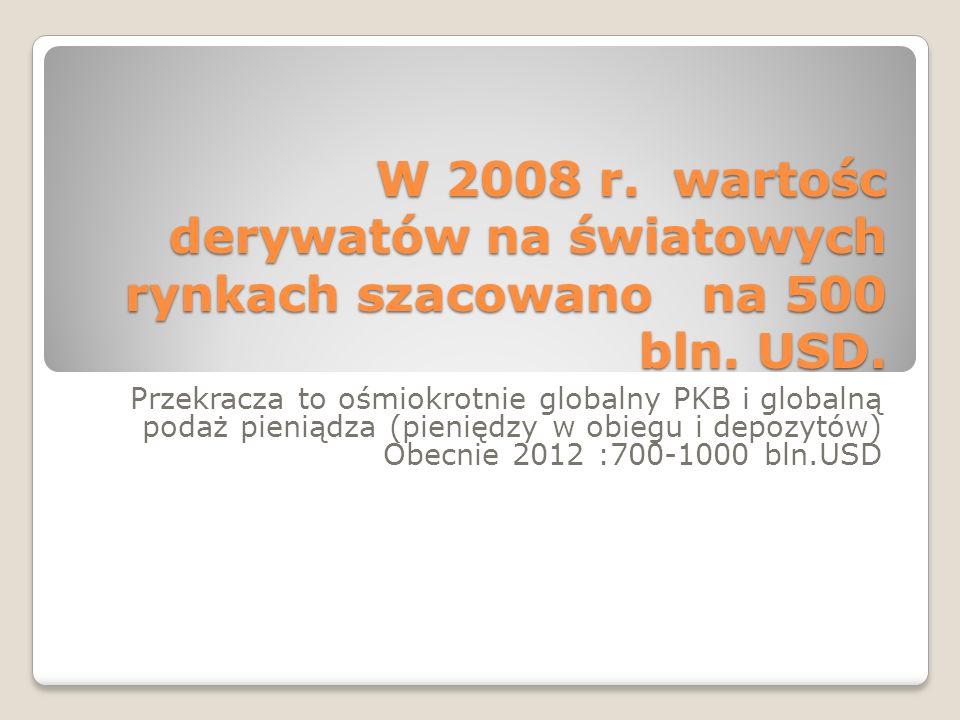 W 2008 r. wartośc derywatów na światowych rynkach szacowano na 500 bln. USD. Przekracza to ośmiokrotnie globalny PKB i globalną podaż pieniądza (pieni