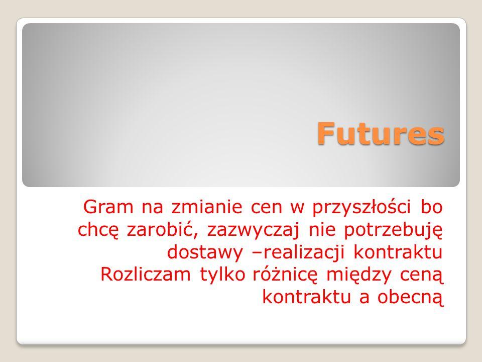 Futures Gram na zmianie cen w przyszłości bo chcę zarobić, zazwyczaj nie potrzebuję dostawy –realizacji kontraktu Rozliczam tylko różnicę między ceną kontraktu a obecną