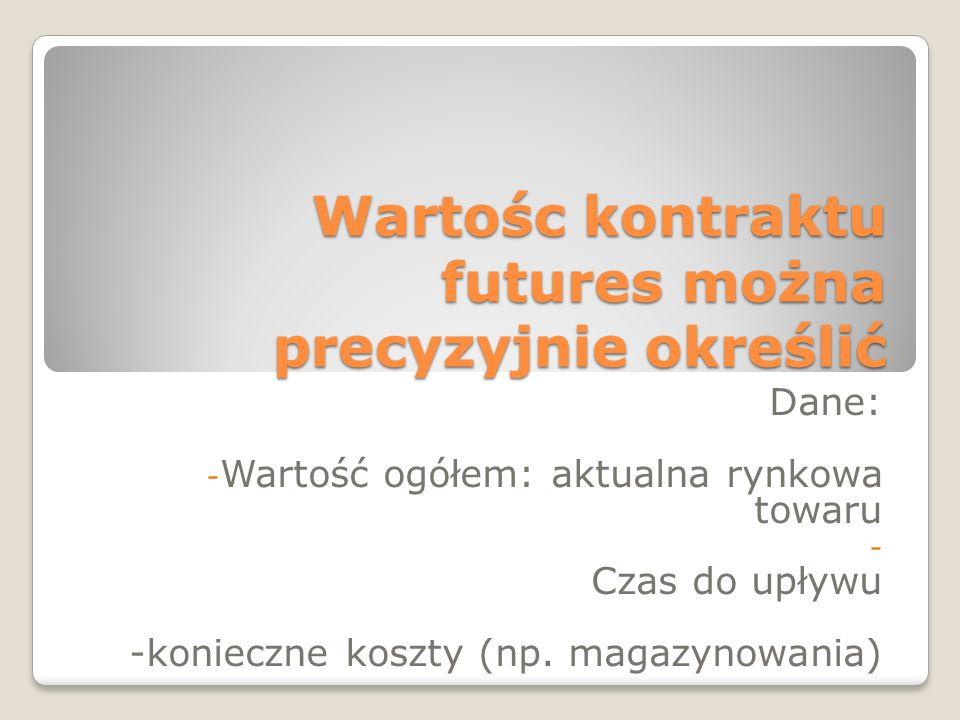Wartośc kontraktu futures można precyzyjnie określić Dane: - Wartość ogółem: aktualna rynkowa towaru - Czas do upływu -konieczne koszty (np. magazynow