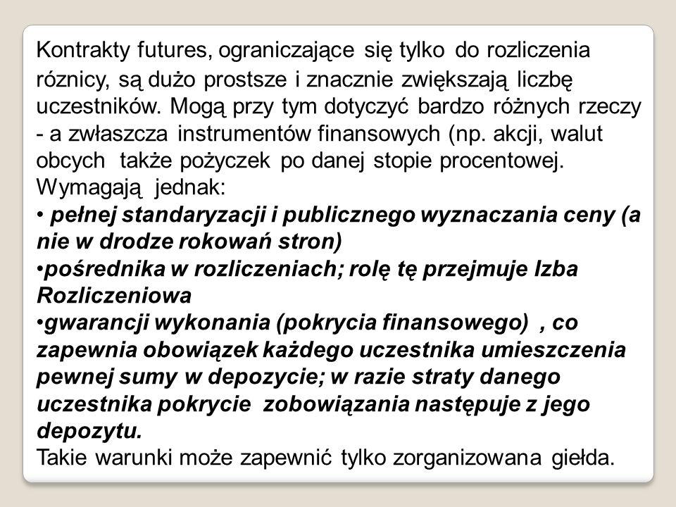 Kontrakty futures, ograniczające się tylko do rozliczenia róznicy, są dużo prostsze i znacznie zwiększają liczbę uczestników. Mogą przy tym dotyczyć b