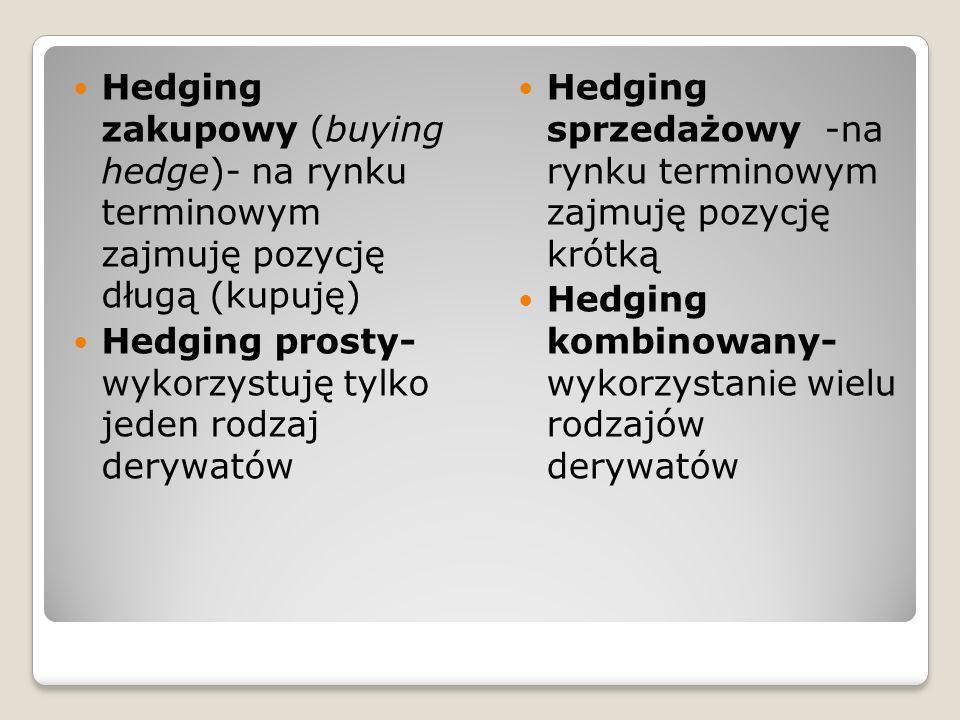 Hedging zakupowy (buying hedge)- na rynku terminowym zajmuję pozycję długą (kupuję) Hedging prosty- wykorzystuję tylko jeden rodzaj derywatów Hedging sprzedażowy -na rynku terminowym zajmuję pozycję krótką Hedging kombinowany- wykorzystanie wielu rodzajów derywatów