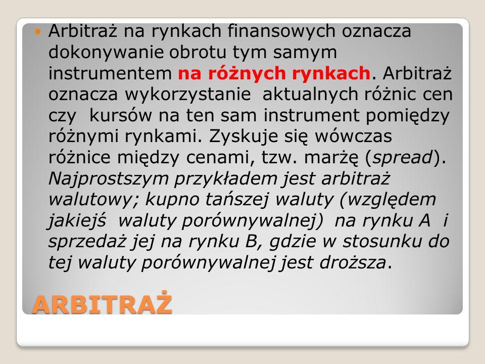 ARBITRAŻ Arbitraż na rynkach finansowych oznacza dokonywanie obrotu tym samym instrumentem na różnych rynkach. Arbitraż oznacza wykorzystanie aktualny