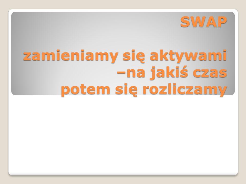 SWAP zamieniamy się aktywami –na jakiś czas potem się rozliczamy