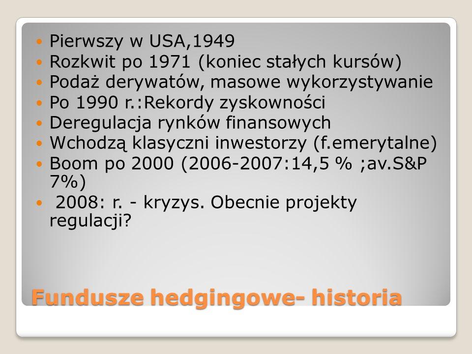Fundusze hedgingowe- historia Pierwszy w USA,1949 Rozkwit po 1971 (koniec stałych kursów) Podaż derywatów, masowe wykorzystywanie Po 1990 r.:Rekordy zyskowności Deregulacja rynków finansowych Wchodzą klasyczni inwestorzy (f.emerytalne) Boom po 2000 (2006-2007:14,5 % ;av.S&P 7%) 2008: r.