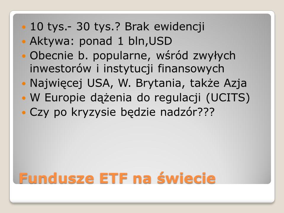Fundusze ETF na świecie 10 tys.- 30 tys.? Brak ewidencji Aktywa: ponad 1 bln,USD Obecnie b. popularne, wśród zwyłych inwestorów i instytucji finansowy
