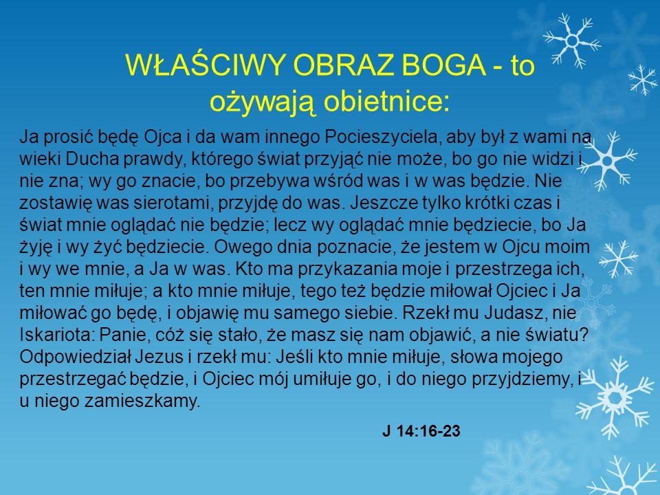 WŁAŚCIWY OBRAZ BOGA - to ożywają obietnice: Ja prosić będę Ojca i da wam innego Pocieszyciela, aby był z wami na wieki Ducha prawdy, którego świat przyjąć nie może, bo go nie widzi i nie zna; wy go znacie, bo przebywa wśród was i w was będzie.