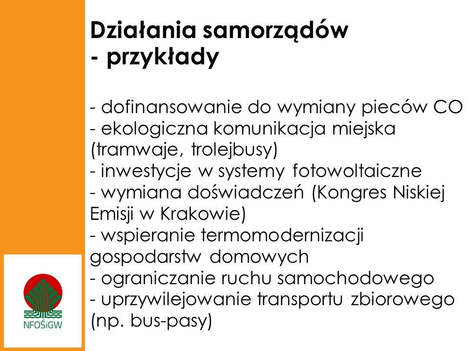 Działania samorządów - przykłady - dofinansowanie do wymiany pieców CO - ekologiczna komunikacja miejska (tramwaje, trolejbusy) - inwestycje w systemy fotowoltaiczne - wymiana doświadczeń (Kongres Niskiej Emisji w Krakowie) - wspieranie termomodernizacji gospodarstw domowych - ograniczanie ruchu samochodowego - uprzywilejowanie transportu zbiorowego (np.