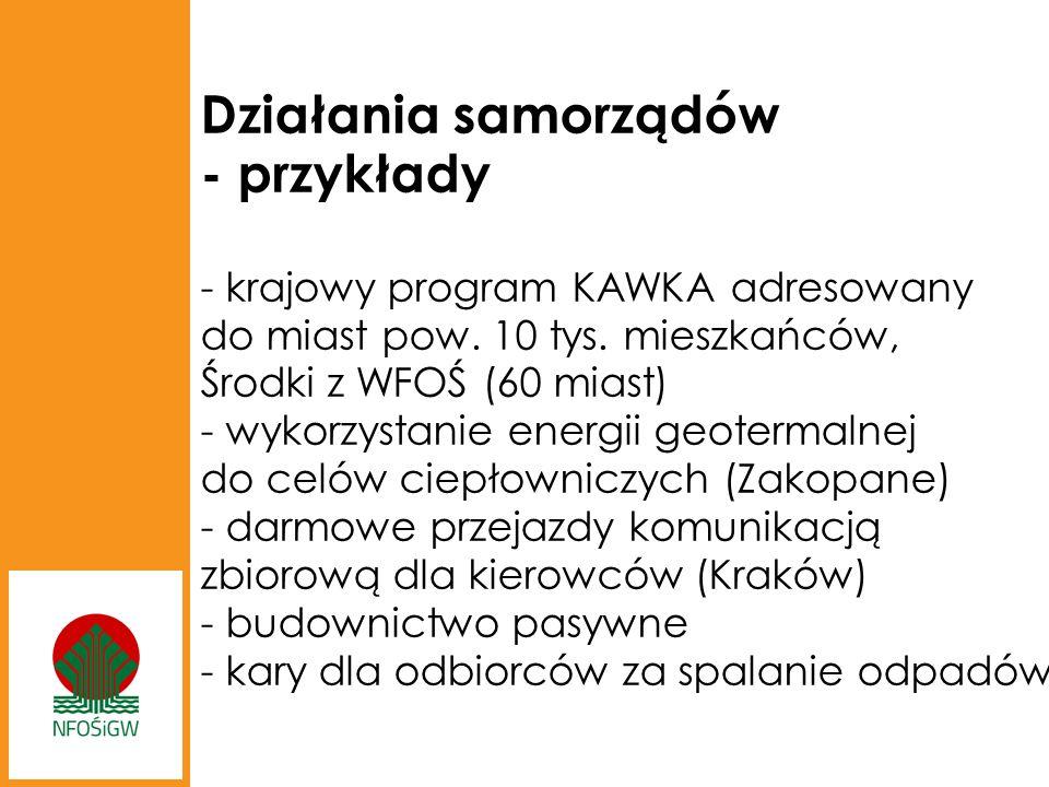 Działania samorządów - przykłady - krajowy program KAWKA adresowany do miast pow.