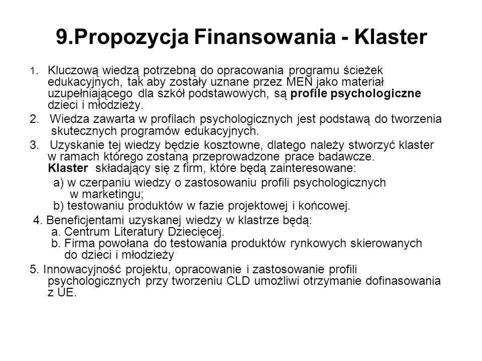 9.Propozycja Finansowania - Klaster 1.