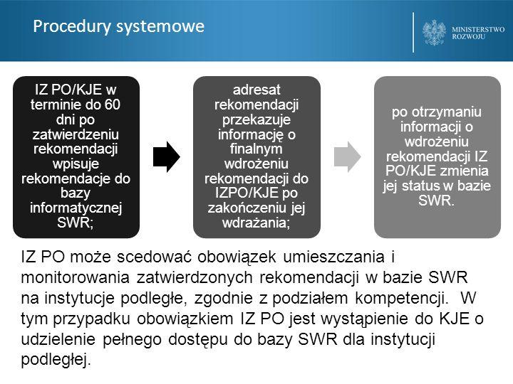 Procedury systemowe IZ PO/KJE w terminie do 60 dni po zatwierdzeniu rekomendacji wpisuje rekomendacje do bazy informatycznej SWR; adresat rekomendacji