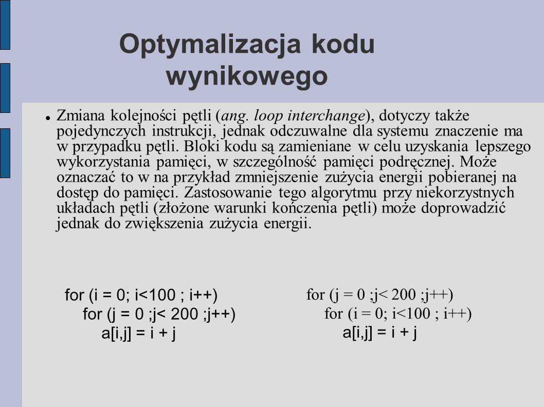 Optymalizacja kodu wynikowego Zmiana kolejności pętli (ang.