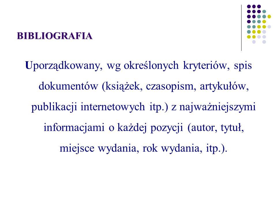 BIBLIOGRAFIA ZAŁĄCZNIKOWA Wykaz dokumentów cytowanych i wykorzystanych przez autora dzieła lub tylko związanych z tematem.