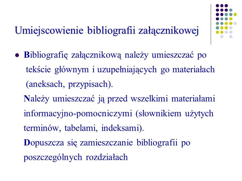 Umiejscowienie bibliografii załącznikowej Bibliografię załącznikową należy umieszczać po tekście głównym i uzupełniających go materiałach (aneksach, przypisach).