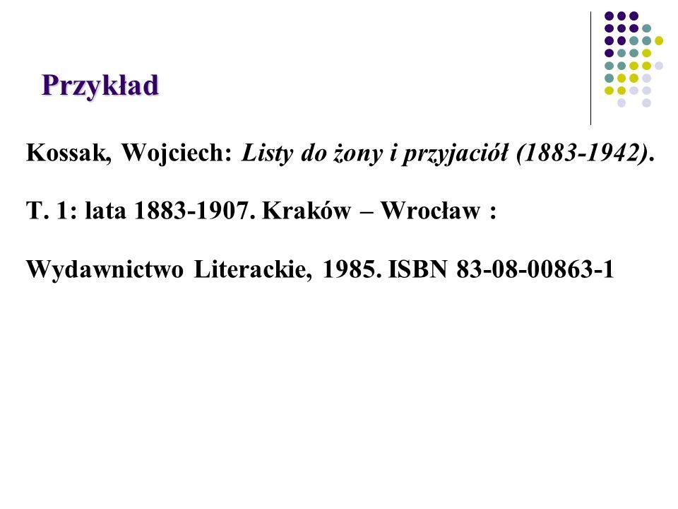 Przykład Kossak, Wojciech: Listy do żony i przyjaciół (1883-1942).