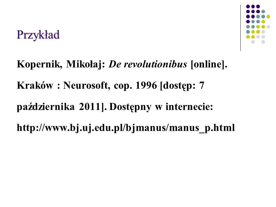 Przykład Kopernik, Mikołaj: De revolutionibus [online].