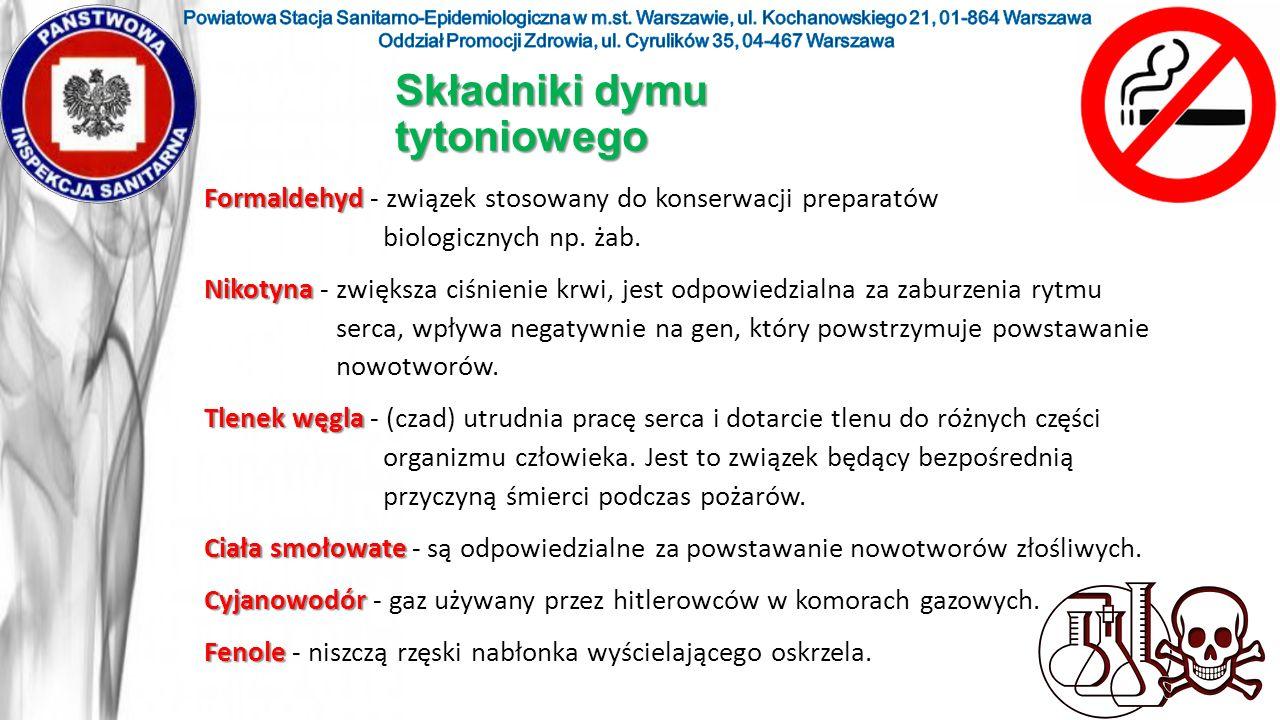 Składniki dymu tytoniowego Formaldehyd Formaldehyd - związek stosowany do konserwacji preparatów biologicznych np. żab. Nikotyna Nikotyna - zwiększa c