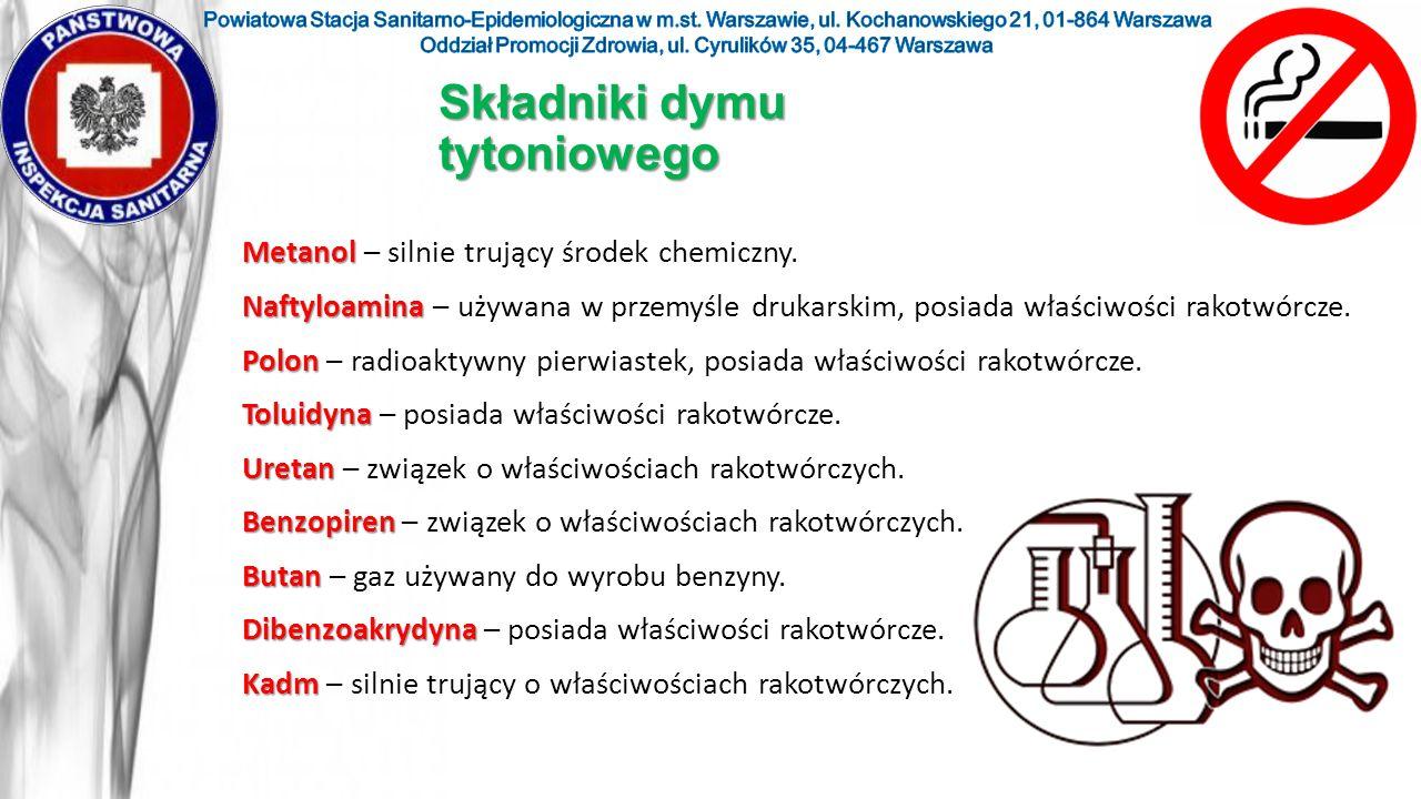 Metanol Metanol – silnie trujący środek chemiczny. Naftyloamina Naftyloamina – używana w przemyśle drukarskim, posiada właściwości rakotwórcze. Polon
