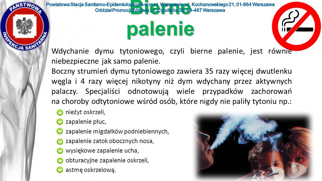 Bierne palenie nieżyt oskrzeli, zapalenie płuc, zapalenie migdałków podniebiennych, zapalenie zatok obocznych nosa, wysiękowe zapalenie ucha, obturacy