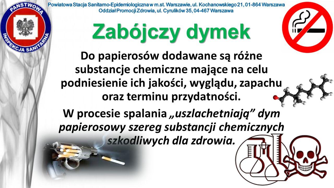 Do papierosów dodawane są różne substancje chemiczne mające na celu podniesienie ich jakości, wyglądu, zapachu oraz terminu przydatności. W procesie s