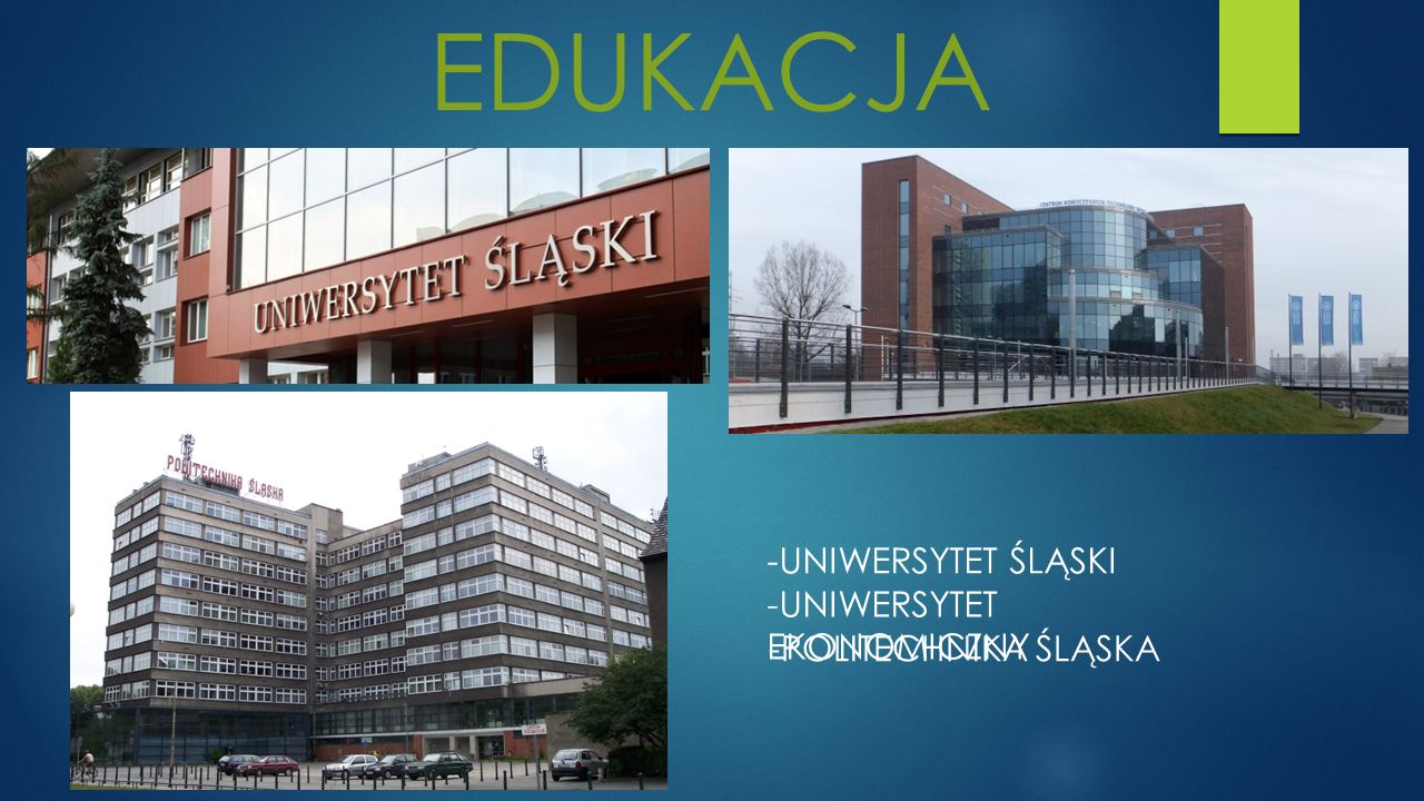 EDUKACJA -UNIWERSYTET ŚLĄSKI -UNIWERSYTET EKONOMICZNY -POLITECHNIKA ŚLĄSKA