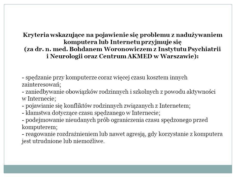 Kryteria wskazujące na pojawienie się problemu z nadużywaniem komputera lub Internetu przyjmuje się (za dr.
