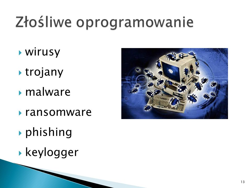  wirusy  trojany  malware  ransomware  phishing  keylogger 13