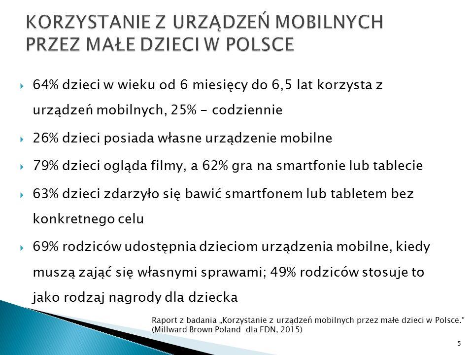  64% dzieci w wieku od 6 miesięcy do 6,5 lat korzysta z urządzeń mobilnych, 25% - codziennie  26% dzieci posiada własne urządzenie mobilne  79% dzi