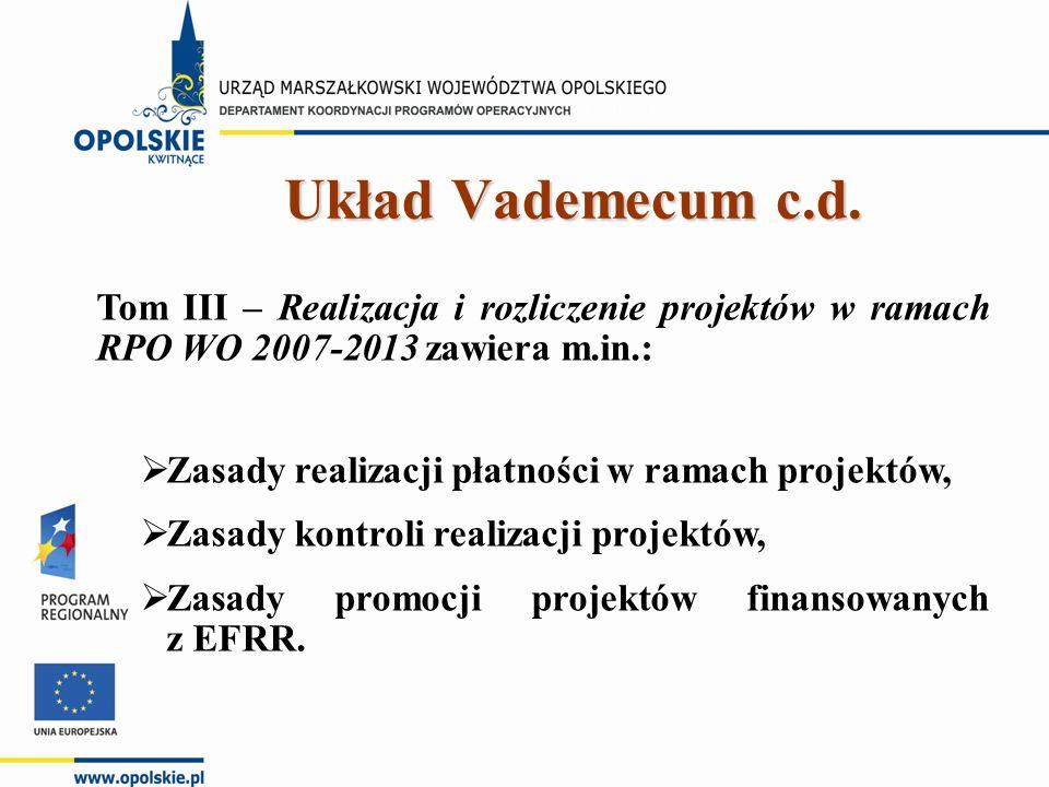 Tom III – Realizacja i rozliczenie projektów w ramach RPO WO 2007-2013 zawiera m.in.:  Zasady realizacji płatności w ramach projektów,  Zasady kontroli realizacji projektów,  Zasady promocji projektów finansowanych z EFRR.