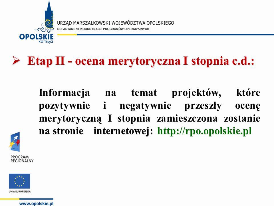  Etap II - ocena merytoryczna I stopnia c.d.: Informacja na temat projektów, które pozytywnie i negatywnie przeszły ocenę merytoryczną I stopnia zamieszczona zostanie na stronie internetowej: http://rpo.opolskie.pl