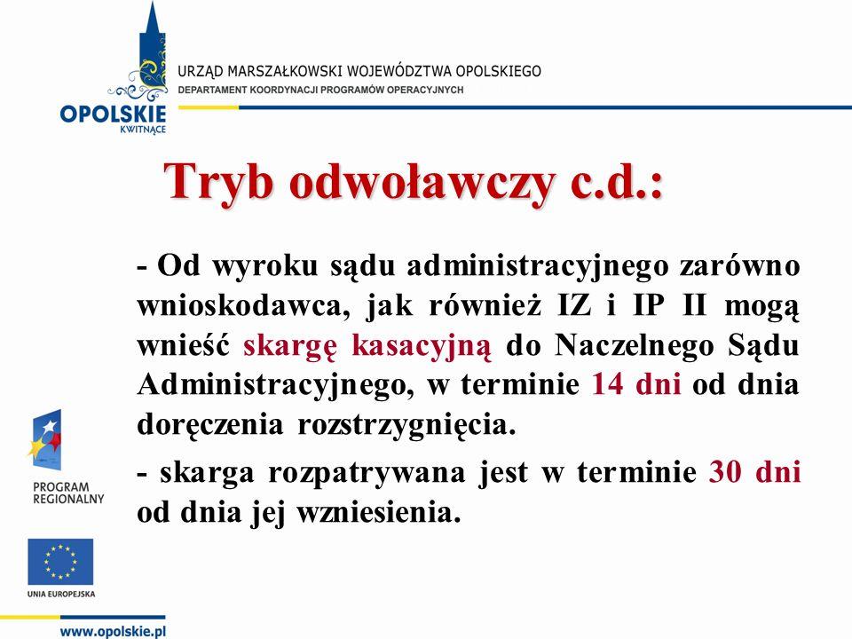 Tryb odwoławczy c.d.: - Od wyroku sądu administracyjnego zarówno wnioskodawca, jak również IZ i IP II mogą wnieść skargę kasacyjną do Naczelnego Sądu Administracyjnego, w terminie 14 dni od dnia doręczenia rozstrzygnięcia.