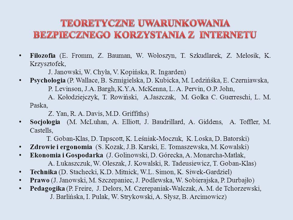 Filozofia (E. Fromm, Z. Bauman, W. Wołoszyn, T. Szkudlarek, Z. Melosik, K. Krzysztofek, J. Janowski, W. Chyła, V. Kopińska, R. Ingarden) Psychologia (