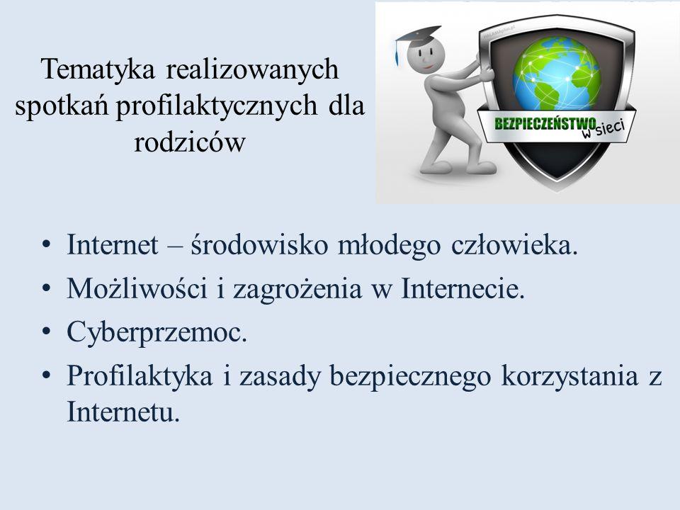 Tematyka realizowanych spotkań profilaktycznych dla rodziców Internet – środowisko młodego człowieka. Możliwości i zagrożenia w Internecie. Cyberprzem