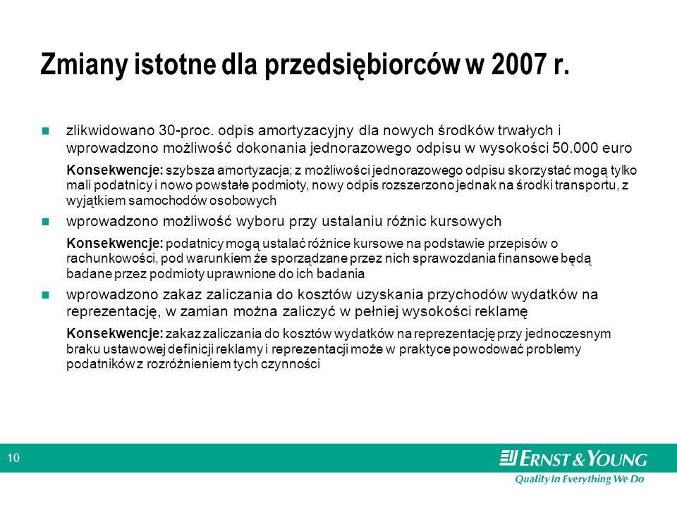 10 Zmiany istotne dla przedsiębiorców w 2007 r. zlikwidowano 30-proc.