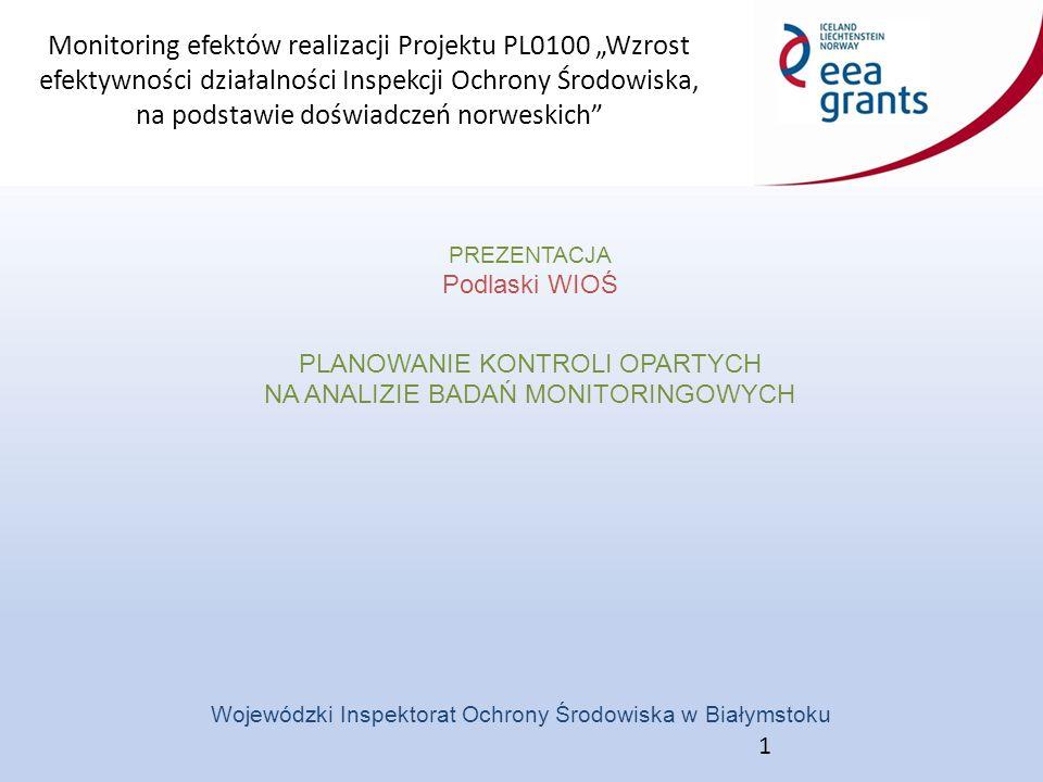 """Monitoring efektów realizacji Projektu PL0100 """"Wzrost efektywności działalności Inspekcji Ochrony Środowiska, na podstawie doświadczeń norweskich Wojewódzki Inspektorat Ochrony Środowiska w Białymstoku PREZENTACJA Podlaski WIOŚ PLANOWANIE KONTROLI OPARTYCH NA ANALIZIE BADAŃ MONITORINGOWYCH 1"""
