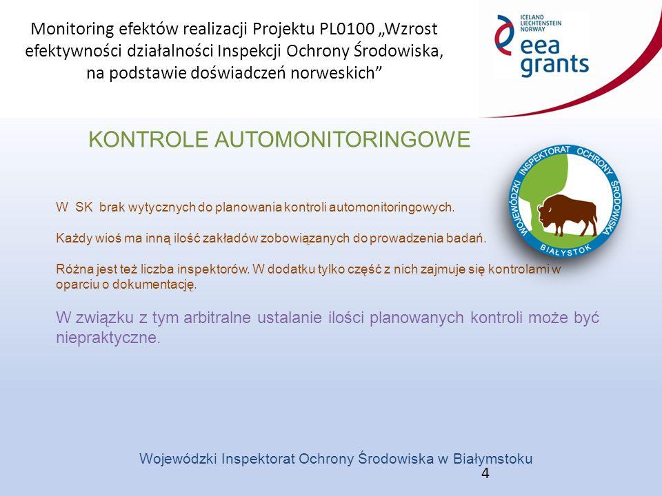 """Monitoring efektów realizacji Projektu PL0100 """"Wzrost efektywności działalności Inspekcji Ochrony Środowiska, na podstawie doświadczeń norweskich Wojewódzki Inspektorat Ochrony Środowiska w Białymstoku KONTROLE AUTOMONITORINGOWE PROPOZYCJE 5 1.Zrezygnować ze sporządzania planu kontroli automonitoringowych Jest on niepraktyczny i nie odzwierciedla faktycznych działań wioś w tym zakresie."""