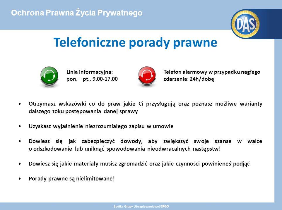 Ochrona Prawna Życia Prywatnego Telefoniczne porady prawne Otrzymasz wskazówki co do praw jakie Ci przysługują oraz poznasz możliwe warianty dalszego toku postępowania danej sprawy Uzyskasz wyjaśnienie niezrozumiałego zapisu w umowie Dowiesz się jak zabezpieczyć dowody, aby zwiększyć swoje szanse w walce o odszkodowanie lub uniknąć spowodowania nieodwracalnych następstw.